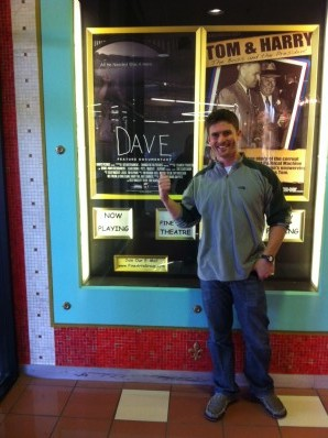 Co producer Tim Oliphant outside Glenwood Arts Theater for DAVE theatrical run in Kansas City